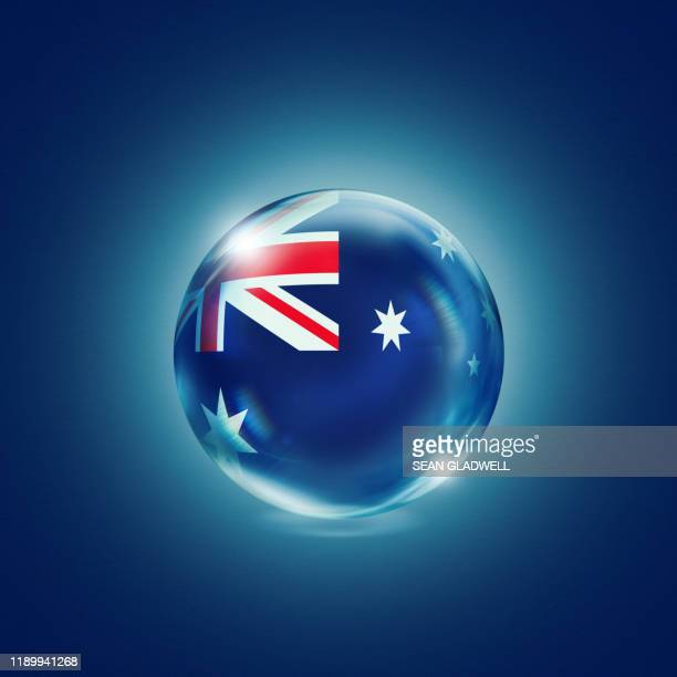 australian flag in crystal ball - australian flag stock pictures, royalty-free photos & images