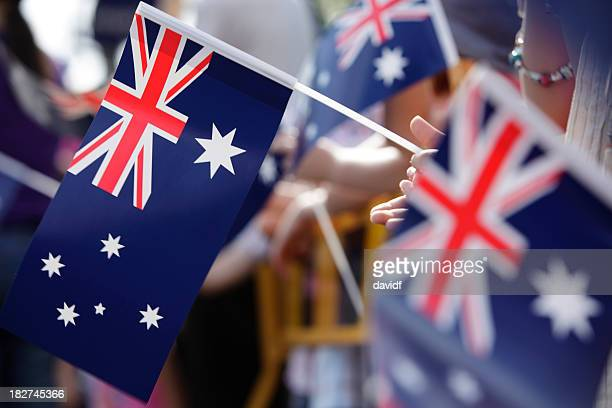 australian flag march - australian flag stock pictures, royalty-free photos & images
