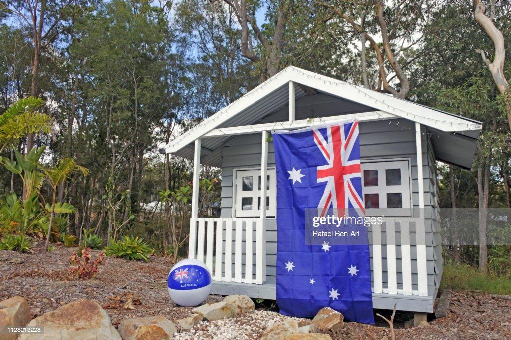 Australian Flag on a Playhouse : Stock Photo