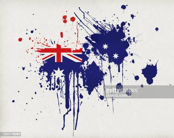 australian flag splatter - australian flag stock pictures, royalty-free photos & images