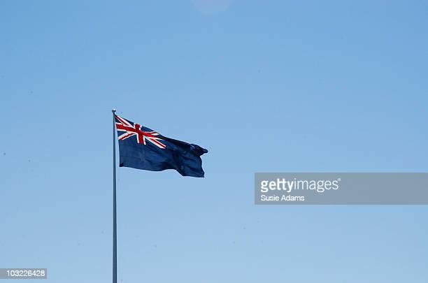 Australian flag with blue sky
