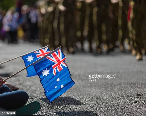 australian flags at anzac day - australian flag stock pictures, royalty-free photos & images