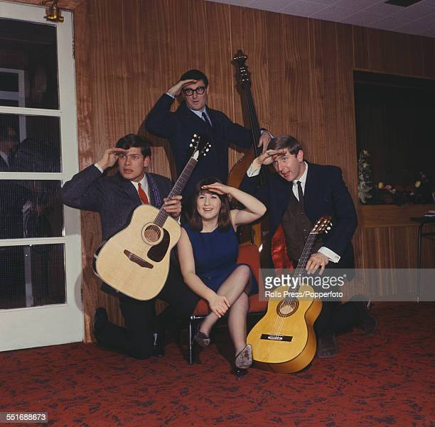 Australian folk group The Seekers pictured together with their instruments in London in February 1965. Clockwise from left: Keith Potger, Athol Guy,...
