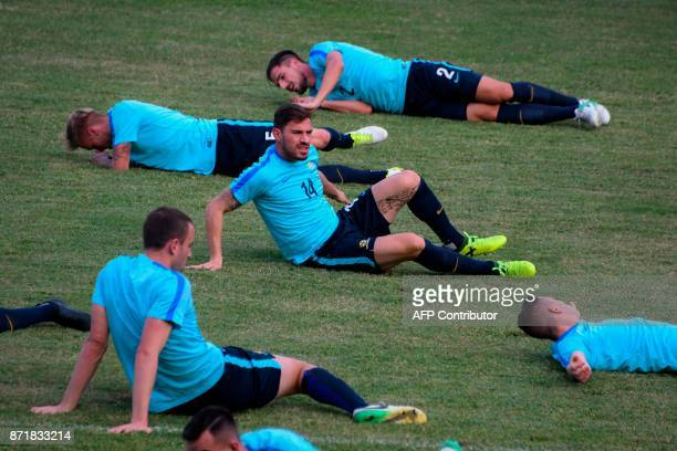 Australian footballer James Troisi takes part in a training session at Francisco Morazan stadium in San Pedro Sula 180 kilometres north of...