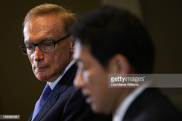 Australian Foreign Minister Bob Carr and Japanese Foreign Minister Fumio Kushida attend a press conference during bilateral meetings at the...