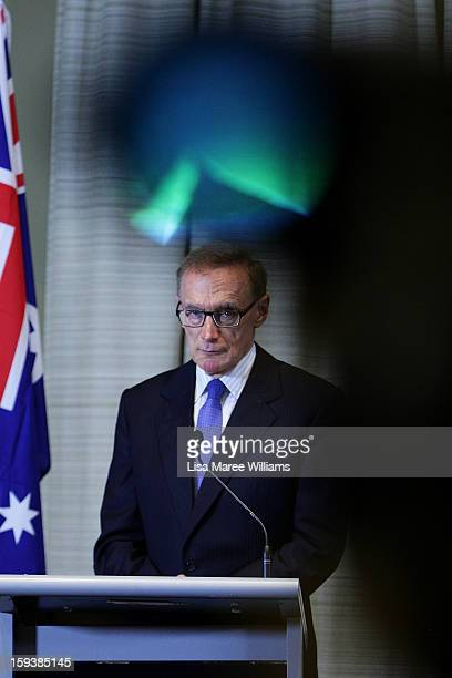 Australian Foreign Minister Bob Carr attends a press conference with Japanese Foreign Minister Fumio Kushida during bilateral meetings at the...