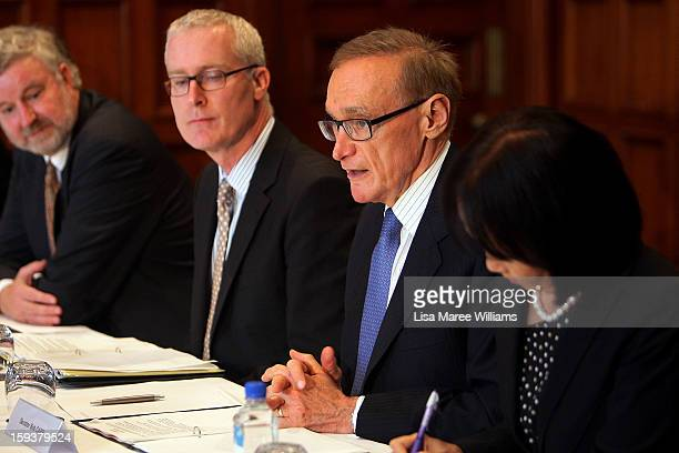 Australian Foreign Minister Bob Carr speaks with with Japanese Foreign Minister Fumio Kushida during a bilateral meeting at the Intercontinental...