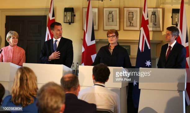 Australian Foreign Minister Julie Bishop, Foreign Secretary Jeremy Hunt, Australian Defence Minister Marise Payne and Defence Secretary Gavin...