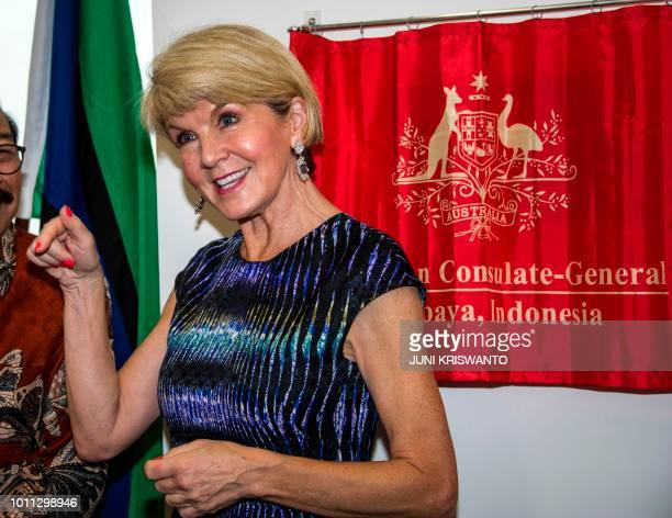 Australian Foreign Minister Julie Bishop inaugurates the Australian ConsulateGeneral in Surabaya on August 5 2018 The new ConsulateGeneral in...