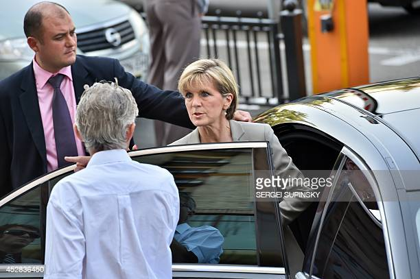 Australian Foreign Minister Julie Bishop leaves after delivering a press conference in the Ukraine Crisis Media Centre in Kiev on July 28 2014 The...