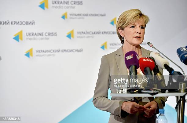 Australian Foreign Minister Julie Bishop speaks during a press conference in the Ukraine Crisis Media Centre in Kiev on July 28 2014 The downing of...