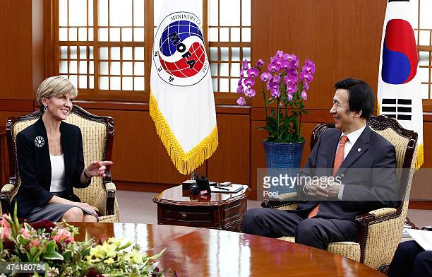 Australian Foreign Minister Julie Bishop talks with South Korean Foreign Minister Yun Byung-Se during their meeting at the foreign ministry od May...