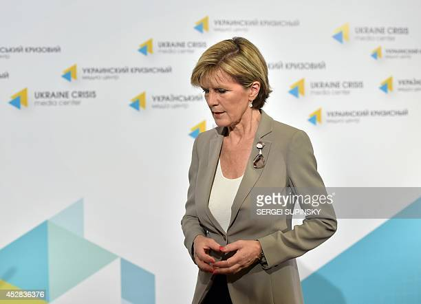 Australian Foreign Minister Julie Bishop walks away after a press conference in the Ukraine Crisis Media Centre in Kiev on July 28 2014 The downing...
