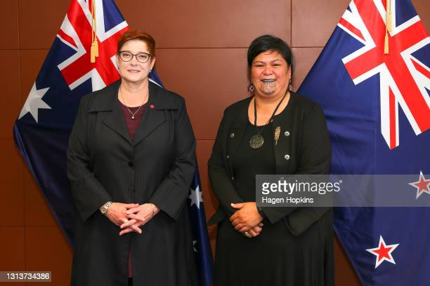 Australian Foreign Minister Marise Payne and Minister of Foreign Affairs Nanaia Mahuta pose during a consultation meeting at Parliament on April 22,...
