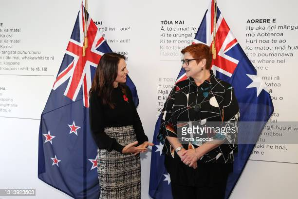 Australian Foreign Minister Marise Payne and New Zealand Prime Minister Jacinda Ardern pose for a photograph on April 23, 2021 in Auckland, New...