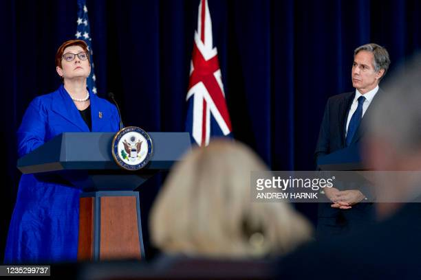 Australian Foreign Minister Marise Payne and US Secretary of State Antony Blinken look on during a news conference at the State Department in...