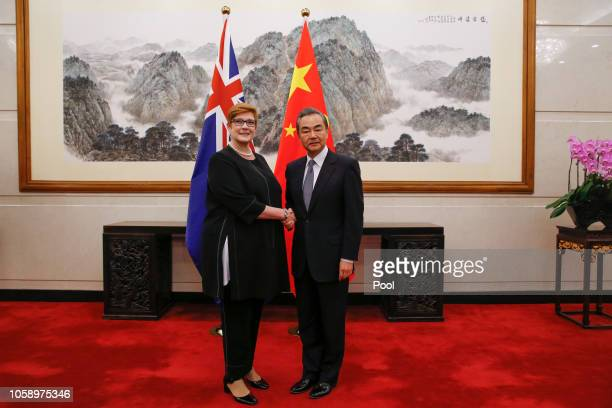 Australian Foreign Minister Marise Payne meets her Chinese counterpart Wang Yi at the Diaoyutai State Guesthouse on November 8, 2018 in Beijing,...