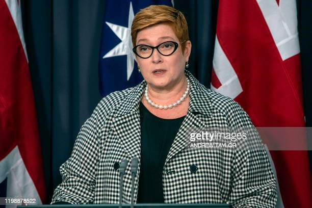 Australian Foreign Minister Marise Payne speaks at a joint press conference with Britain's Foreign Secretary Dominic Raab in Canberra on February 6,...