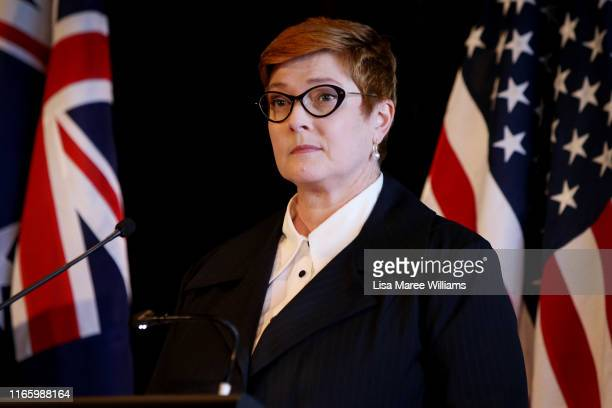 Australian Foreign Minister, Marise Payne speaks during a press conference at Parliament of New South Wales on August 04, 2019 in Sydney, Australia....