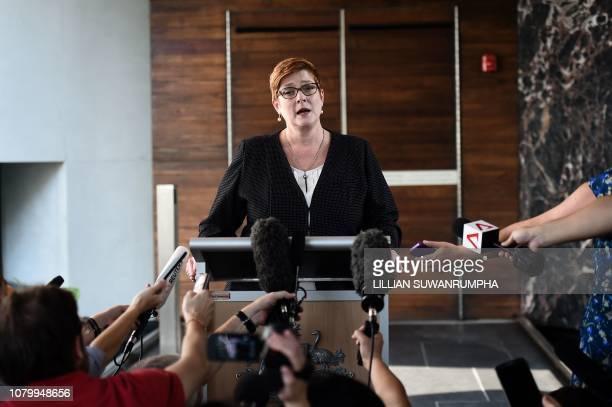 Australian Foreign Minister Marise Payne speaks to the press regarding the case of detained Bahraini footballer Hakeem alAraibi and runaway Saudi...