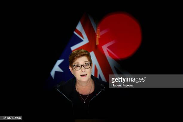 Australian Foreign Minister Marise Payne talks to media during a press conference at Parliament on April 22, 2021 in Wellington, New Zealand....