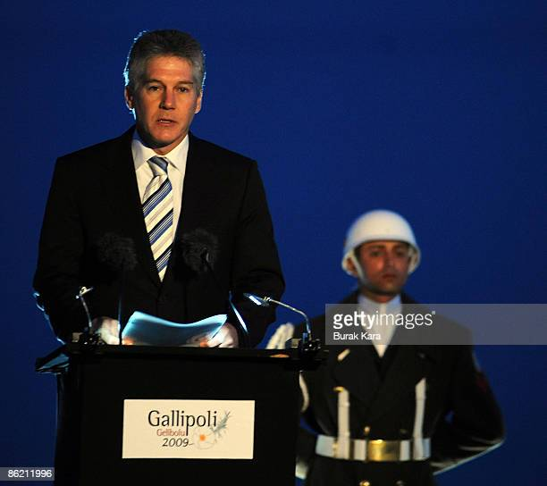 Australian Foreign Minister Stephen Smith attends the dawn ceremony to mark the 94th anniversary of the World War I campaign of Gallipoli at Anzac...
