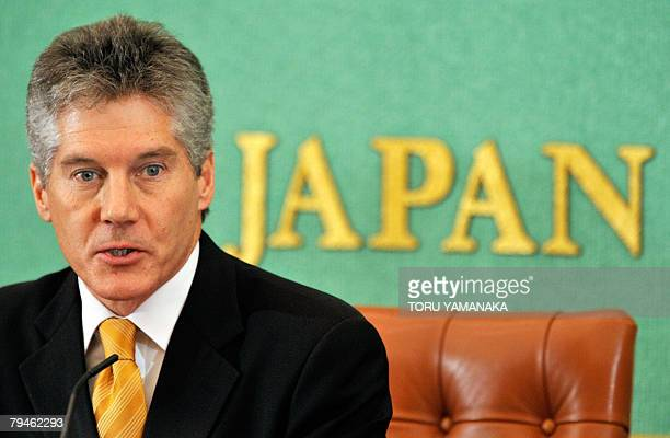 Australian Foreign Minister Stephen Smith delivers a speech during a press conference at Japan National Press Club in Tokyo 01 February 2008 Smith is...