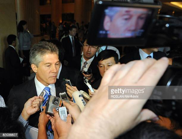 Australian Foreign Minister Stephen Smith speaks to reporters during the Association of the Southeast Asian Nations Regional Forum in Singapore on...