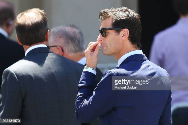 Australian Formula One champion Mark Webber attends the State Funeral Service for Ronald Walker at St Paul's Cathedral on February 7 2018 in...