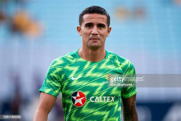 Australian forward Tim Cahill during warm up at the international soccer match between Australia and Lebanon on November 20 at ANZ Stadium in NSW,...