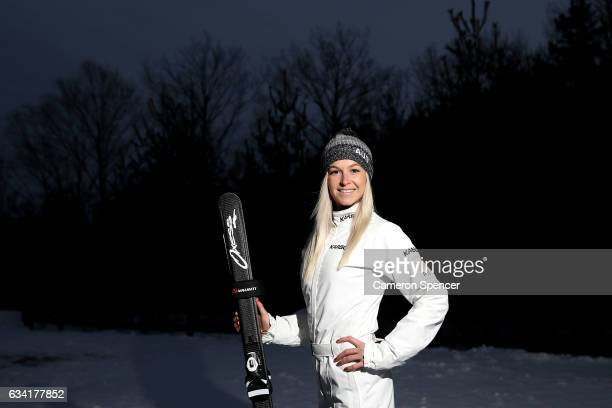 Australian freestyle skier Danielle Scott poses during an Australian Aerials Team Portrait Session at Phoenix Park ahead of the FIS World Cup Aerials...