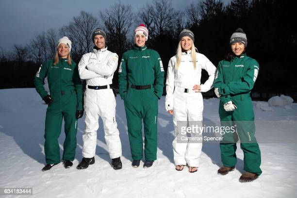Australian freestyle skiers Samantha Wells David Morris Laura Peel Danielle Scott and Lydia Lassila pose during an Australian Aerials Team Portrait...