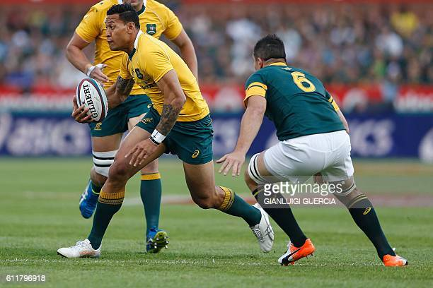 Australian fullback Israel Folau holds the ball during the Castle Lager Rugby Championship international test match between South Africa and...