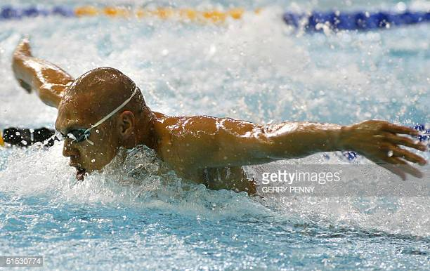 Australian Geoff Huegill in action during the 2002 Manchester Commonwealth Games men's 100m butterfly first round 02 August 2002 Huegill won the heat...