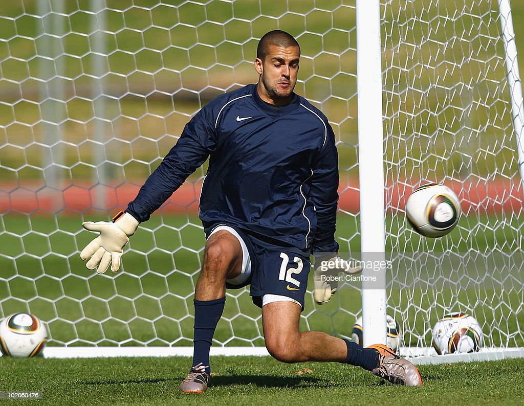 Australian goalkeeper Adam Federici makes a save during an Australian Socceroos training session at Ruimsig Stadium on June 14, 2010 in Roodepoort, South Africa.