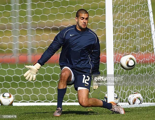 Australian goalkeeper Adam Federici makes a save during an Australian Socceroos training session at Ruimsig Stadium on June 14 2010 in Roodepoort...