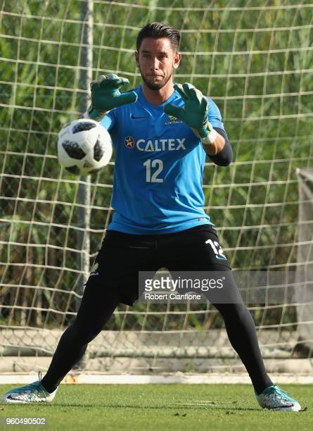 Australian goalkeeper Brad Jones watches the ball during the Australian Socceroos Training Session at the Gloria Football Club on May 20 2018 in...