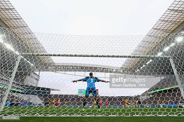 Australian goalkeeper Lydia Williams prepares to face a penalty shot during the Women's First Round Group F match between Canada and Australia at...