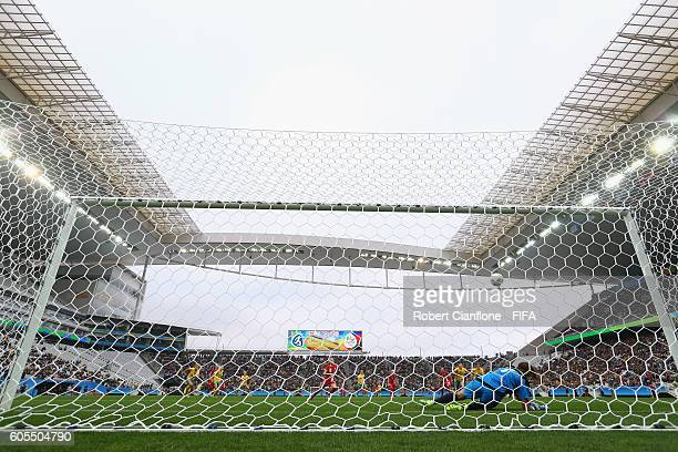 Australian goalkeeper Lydia Williams saves a penalty during the Women's First Round Group F match between Canada and Australia at Arena Corinthians...