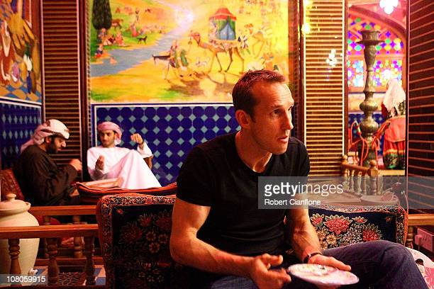 Australian goalkeeper Mark Schwarzer enjoys dinner at a local restaurant in the Souq Waqif on January 15 2011 in Doha Qatar The Australian squad are...