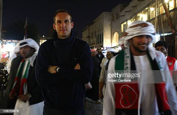Australian goalkeeper Mark Schwarzer visits the local Souq Waqif on January 15 2011 in Doha Qatar The Australian squad are currently in Doha...