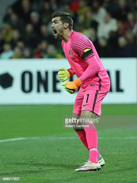 Australian goalkeeper Mathew Ryan calls out to team mates during the 2018 FIFA World Cup Qualifier match between the Australian Socceroos and Iraq at...
