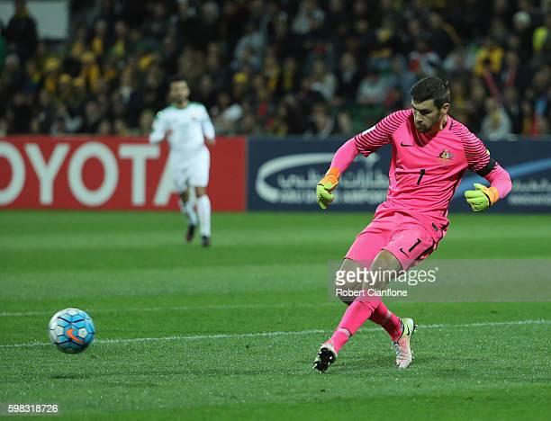 Australian goalkeeper Mathew Ryan kicks the ball during the 2018 FIFA World Cup Qualifier match between the Australian Socceroos and Iraq at nib...