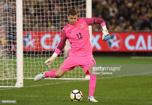 Australian goalkeeper Mitchell Langerak kicks the ball during the Brasil Global Tour match between Australian Socceroos and Brazil at Melbourne...