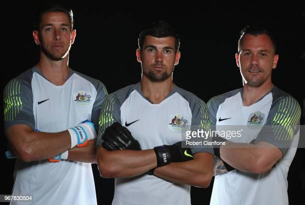 Australian goalkeepers Brad Jones Mathew Ryan and Daniel Vukovic pose during the Australian Socceroos Portrait Session at the Gloria Serenity Resort...