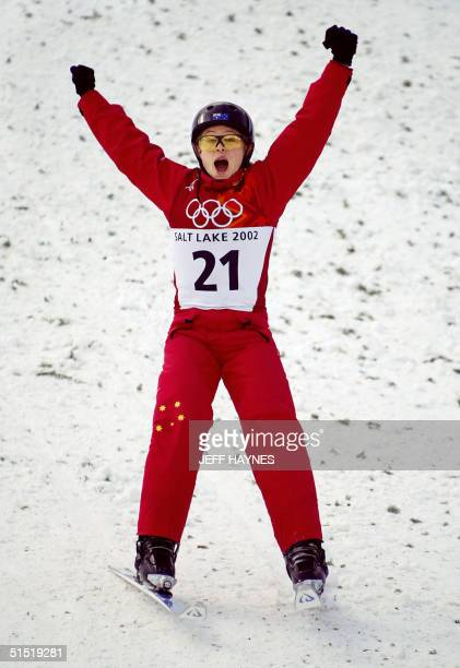 Australian gold medalist Alisa Camplin celebrates after her jump during the Women's Aerials final for the Winter Olympics 18 February 2002 at Deer...