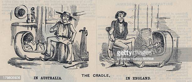 Cradling in Australia and in England Cartoon from ''Punch''