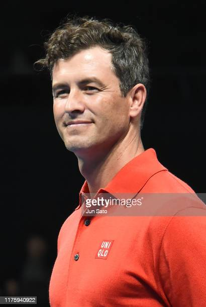 Australian golfer Adam Scott attends the opening ceremony for Uniqlo LifeWear Day Tokyo charity match at the Ariake Coliseum on October 14, 2019 in...