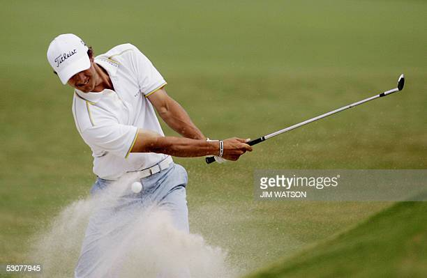 Australian golfer Adam Scott hits from the bunker to the 7th green during the first round of the 2005 US Open Champshionship at Pinehurst Country...