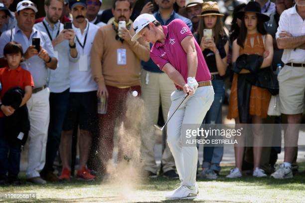 Australian golfer Cameron Smith plays his ball during the third round of the PGA World Golf Championship at Chapultepec's Golf Club in Mexico City on...